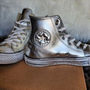 Chuck Taylors Hightop Distressed Silver Sneakers